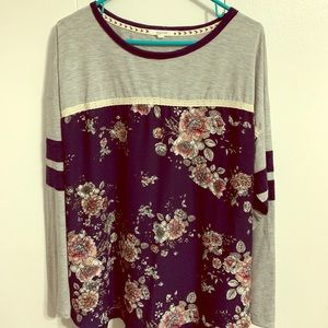 Long sleeve floral and stripe shirt